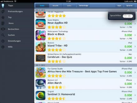 Screenshot von AppTickerHD