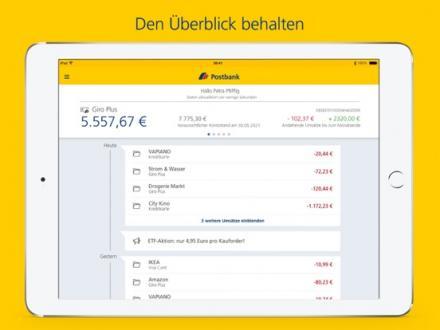 Screenshot von Postbank Finanzassistent