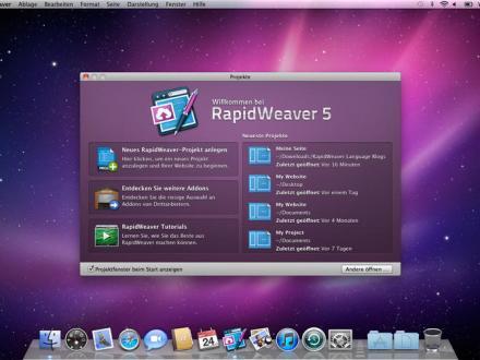 Screenshot von RapidWeaver