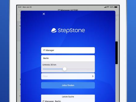 Screenshot von StepStone Jobs