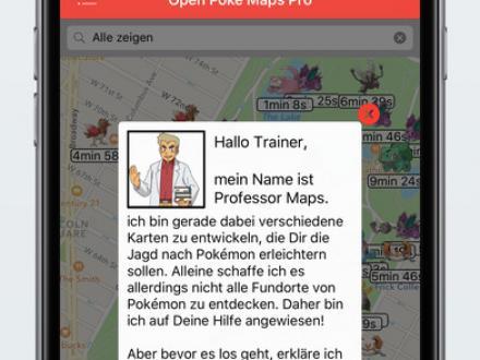 Screenshot von OpenPokeMaps Pro mit Push Benachrichtigungen für Pokémon GO - Finde aktuelle Positionen auf der Karte
