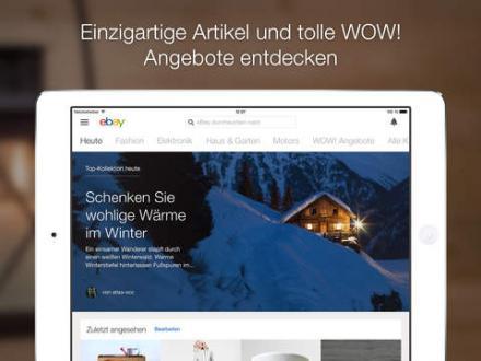 Screenshot von eBay für das iPad